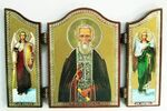 Складень МДФ (71), тройной арочный, Сергий Радонежский, с Архангелами, 13 Х 8,5 см.
