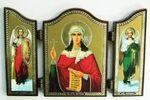 Складень МДФ (72), тройной арочный, Татьяна Св.Муч., с Архангелами, 13 Х 8,5 см.