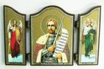 Складень МДФ (63), тройной арочный, Александр Невский, с Архангелами, 13 Х 8,5 см.