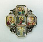 Спаси и Сохрани, иконостас настольный, 5 ликов, крест