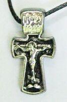 Крест нательный металл (8-01) литой, с гайтаном, инд. упак. цвет серебро чернение