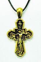 Крест нательный металл (8-02) литой, с гайтаном, инд. упак. цвет золото чернение