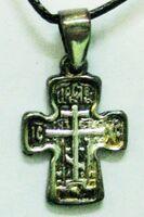 Крест нательный металл (8-06) литой, с гайтаном, инд. упак. цвет серебро чернение