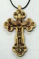 Крест нательный дерево (12), на шнурке, большой, выжженый