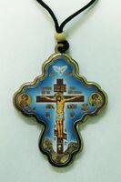 Подвеска автомобильная (68) Крест подвесной голубой большой Спаси и сохрани, с распятием