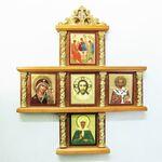 Иконостас домашний в резном киоте, крест, 5 ликов, Матрона 18 Х 15 см.