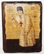 Серафим Саровский (рост), икона под старину, сургуч (13 Х 17)