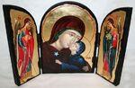 Анна, Святая Праведная, с Архангелами, традиционный Афонский складень 35 Х 24 см.