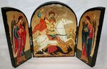 Георгий, убивающий змея, с Архангелами, традиционный Афонский складень 35 Х 24 см.