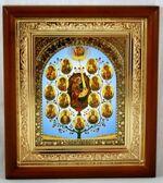 Древо Богородицы, икона в деревянной рамке, малая, арка 15 Х 17 см.