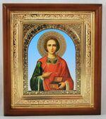 Пантелеймон, икона в деревянной рамке, малая, арка 15 Х 17