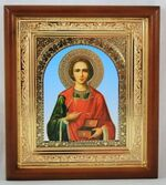 Пантелеймон, икона в деревянной рамке, средняя, арка 20 Х 23