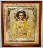 Пантелеймон, икона в деревянной рамке, средняя, золото 20 Х 23