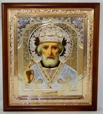 Николай Чудотворец, икона в деревянной рамке, средняя, золото 20 Х 23