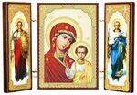 Складень МДФ (3), тройной, Казанская Б.М. с архангелами, 13 Х 8 см.