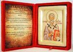 Святитель Геннадий Новгородский, икона Греческая, в бархатном футляре, 13 Х 17