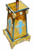 Подставка (тумба) под хоругви, кресты, иконы запрестольные, средняя, с литыми крестами, литыми накладками, литыми ножками