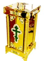Кружка для сбора пожертвований, напольная квадратная, большая, с литым крестом, литыми накладками, литыми ножками, замком и ручками, с верхней дверкой