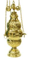 Кадило большое служебное, греческое, с позвонцами, бронзовое