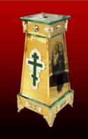 Подставка (тумба) под хоругви, кресты, иконы запрестольные, средняя, с литым крестом, ликами Архангелов, литыми накладками, литыми ножками