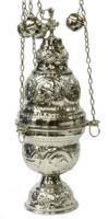 Кадило большое служебное, греческое, с позвонцами, бронзовое, сер.