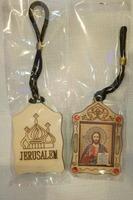 Подвеска автомобильная (91) JERUSALEM, березовый щит, имитация камней, ладан, орг.стекло, Спаситель