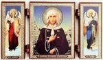 Складень МДФ (42), тройной, Ксения Петербургская (пояс) с архангелами, 13 Х 7,5 см.