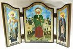 Складень МДФ (86), тройной арочный, Ксения Петербургская, с Предстоящими, 13 Х 8,5 см.