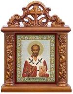 Николай Чудотворец. Икона настольная квадрат на подст., резной киот, 13 Х 10 см.