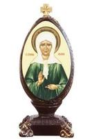 Матрона (яйцо пасхальное). Икона настольная, овал, на подст. 12 Х 5 см.