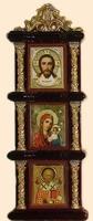 Иконостас домашний в резном киоте, вертикальный, Спаситель, Казанская, Николай Чудотворец, 18 Х 6,5 см.