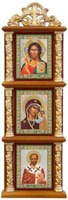 Иконостас домашний в резном киоте, вертикальный, Спаситель, Казанская, Николай Чудотворец, 30 Х 10 см.