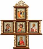 Иконостас домашний в резном киоте, крест, 5 ликов, Пантелеймон 18 Х 15 см.