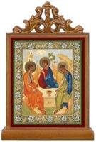 Троица. Икона настольная прямоуг. на подст., с узором , 11 Х 7,5 см.