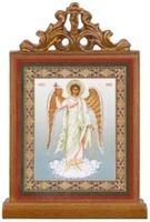 Ангел Хранитель. Икона настольная прямоуг. на подст., с узором , 11 Х 7,5 см.