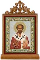 Николай Чудотворец. Икона настольная прямоуг. на подст., с узором , 11 Х 7,5 см.