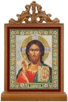Спаситель. Икона настольная прямоуг. на подст., с узором , 11 Х 7,5 см.