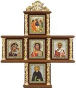 Иконостас домашний в резном киоте, крест, 5 ликов, Сергий Радонежский, 30 Х 25 см.