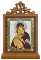 Владимирская Б.М.. Икона настольная прямоуг. на подст., с узором , 11 Х 7,5 см.