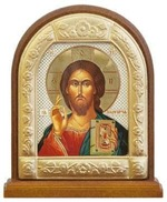 Спаситель. Икона настольная арка на подст. средняя, с фигурным багетом 9.5 Х 8 см.