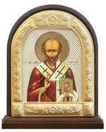 Николай Чудотворец. Икона настольная арка на подст. средняя, с фигурным багетом 9.5 Х 8 см.