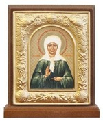 Матрона Московская. Икона настольная прямоуг. на подст., объемная рамка, 9 Х 8 см.