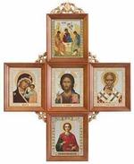 Иконостас домашний в прямом киоте, крест, 5 ликов, Пантелеймон 51,5 Х 40 см.