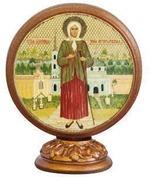 Ксения Петербургская. Икона настольная круглая на подст. малая, 7.5 Х 6,5 см.