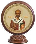 Николай Чудотворец. Икона настольная круглая на подст. малая, 7.5 Х 6,5 см.