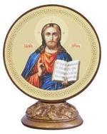 Спаситель. Икона настольная круглая на подст. малая, 7.5 Х 6,5 см.