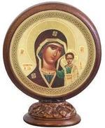 Казанская Б.М.. Икона настольная круглая на подст. малая, 7.5 Х 6,5 см.
